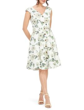 Lilly Button Detail Fit & Flare Dress by Gal Meets Glam Collection