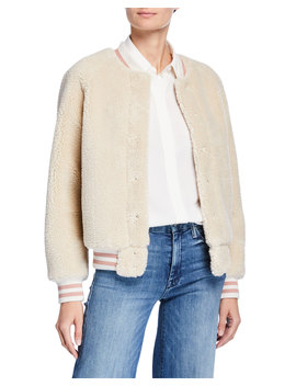 The Snap Letterman Faux Fur Bomber Jacket by Mother