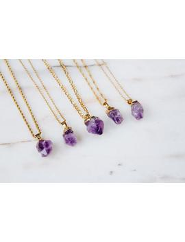 Dainty Amethyst Gold Plated Stainless Steel Necklace by Etsy