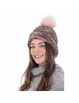 Arctic Paw Heathered Multicolor Knit Beanie With Faux Fur Pompom by Arctic