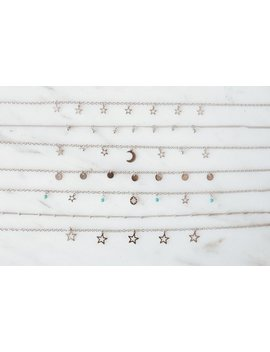 Stainless Steel Chokers, Dainty Necklaces, Moons, Stars, Coins, Turquoise Beads by Etsy