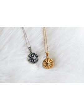 Stainless Steel Golden Or Silver Compass Stardust Medallion by Etsy