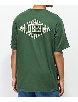 Obey Trademark Diamond Forest Green T Shirt by Obey