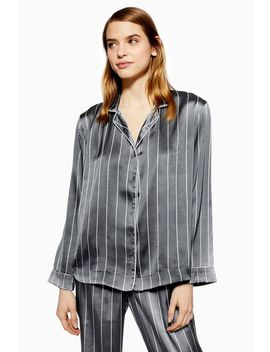 Grey Satin Stripe Pyjama Set by Topshop