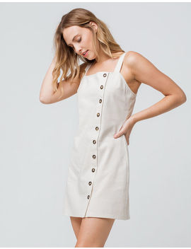 Sky And Sparrow Linen Side Button Natural Structured Dress by Sky And Sparrow