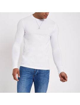 Wit Aansluitend T Shirt Met Lange Mouwen by River Island