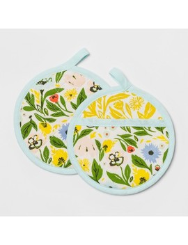 Floral Pot Holder Set Yellow   Opalhouse™ by Opalhouse