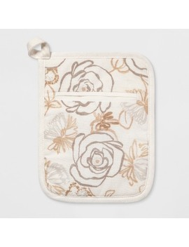 Floral Print Pot Holder White/Taupe   Threshold™ by Threshold