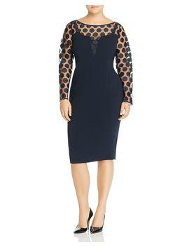 Divinas Embroidered Dot Sheer Detail Dress by Marina Rinaldi
