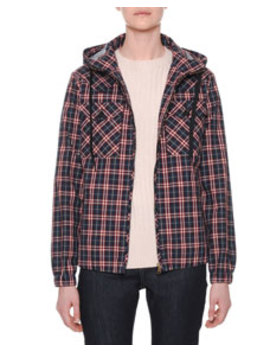 Hooded Zip Front Check Bomber Jacket by Tomas Maier