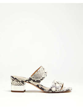 Liv Snakeskin Print Block Heel Leather Sandals by Ann Taylor