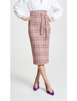Plaid Tie Waist Skirt by Stella Jean