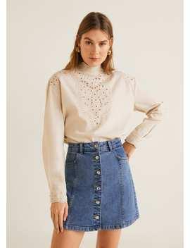 Button Denim Miniskirt by Mango