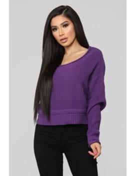 Eve Cropped Sweater   Purple by Fashion Nova