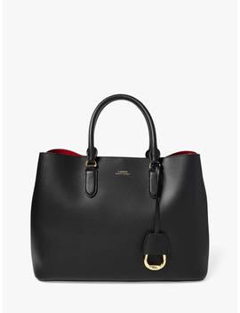 Ralph Lauren Marcy Large Leather Satchel Bag, Black/Red by Ralph Lauren