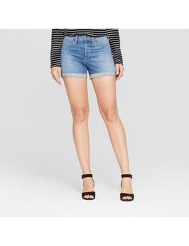 Women's High Rise Double Cuff Hem Midi Jean Shorts   Universal Thread™ Medium Wash by Universal Thread
