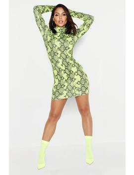 Neon Lime Snake Ribbed Roll Neck Dress by Boohoo