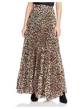 Katz Metallic Leopard Print Pleated Maxi Skirt by Alice And Olivia