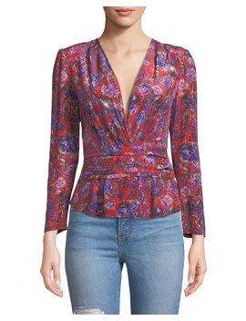 Hurl V Neck Long Sleeve Floral Print Silk Top by Iro