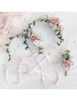 Blush Flower Girl Crown, Set Of 2 Mommy And Me Flower Crown, Blush Flower Crown, Flower Crown, Blush Child Headband, Blush Flower Headpiece by Etsy