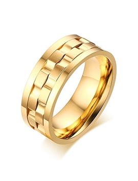 Yikoxi Men's Gold Plated Stainless Steel Rotatable Stylish Brick Double Gear Shaped Spinner Rings by Yikoxi
