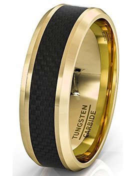 Duke Collections 8mm 18k Plated Gold Tungsten Ring Black Carbon Fiber Surface Beveled Edges Comfort Fit by Duke Collections