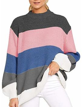 Imily Bela Womens Oversized Chunky Color Block Cable Knitted Crew Pullover Sweaters by Imily Bela