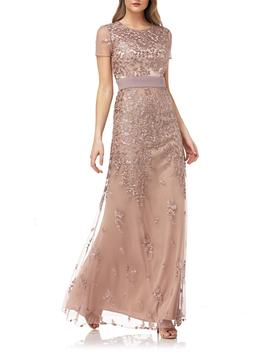 Floral Embroidered Evening Dress by Js Collections