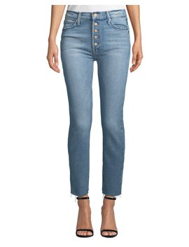 The Pixie Dazzler Ankle Fray Straight Leg Jeans by Mother