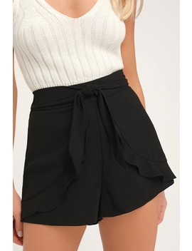 On An Adventure Black Ruffle Tie Front Shorts by Lulus