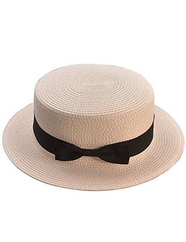 Andy&Esther Hand Weaved Straw Bowler Hat Short Brim Beach Sun Hat For Men And Women Straw Hat With Bow Belt by Andy&Esther