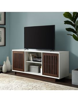 "Slat Door 56"" White & Dark Walnut Tv Stand Console by Pier1 Imports"