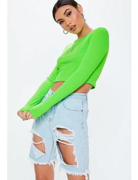 Tall Lime Ribbed Long Sleeve Crop Top by Missguided