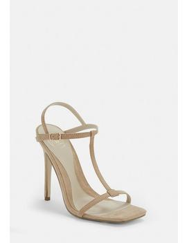 Nude T Bar Barely There Heels by Missguided