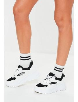 Black Mesh Panel Chunky Sole Trainers by Missguided