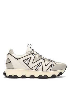 Lightening Panelled Leather Trainers by Lanvin