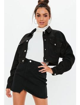 Black Contrast Stitch Faux Suede Trucker Jacket by Missguided