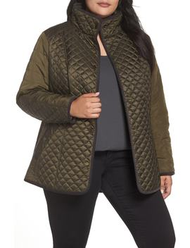 Quilted Contrast Sleeve Jacket by Gallery