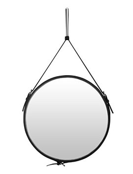 Top Notch Pu Leather Round Wall Mirror For Your Home, Decorative Mirror With Hanging Strap And Silver Hardware Hanger/Hooker, Diameter 15.8 Inch, Black by Ms.Box