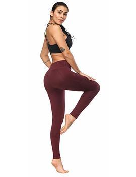 Hkjievshop Women's Pockets Yoga Pants, High Waist Yoga Pants Workout 4 Way Stretch Leggings Black by Hkjievshop
