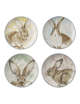 Damask Bunny Mixed Appetizer Plates, Set Of 4 by Williams   Sonoma