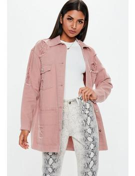 Pink Distressed Long Line Shacket by Missguided