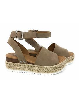 Womens Jd Topic2 Casual Espadrilles Trim Rubber Sole Flatform Studded Wedge Buckle Ankle Strap Open Toe Sandals by Soda