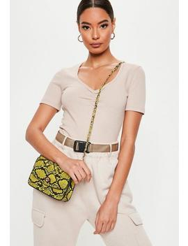 Neon Lime Snake Cross Body Bag by Missguided