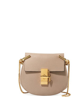 Drew Mini Calfskin Crossbody Bag, Gray by Chloe