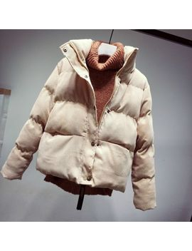 Ladies Corduroy Puffer Jacket Coats Thick Padded Quilted Stand Collar Outerwear by Ebay Seller
