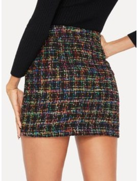 Double Button Front Tweed Skirt by Shein