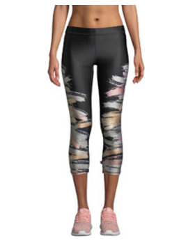 Printed Metallic Capri Performance Leggings by Terez