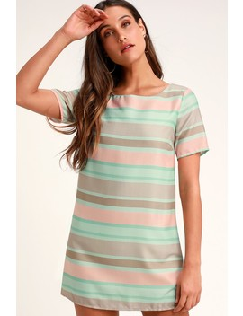 Melodic Mint Blue Striped Shift Dress by Lulus