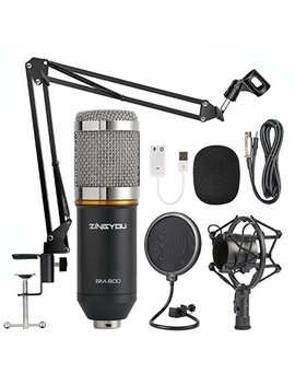 Zingyou Condenser Microphone Bundle, Bm 800 Mic Kit With Adjustable Mic Suspension Scissor Arm, Shock Mount And Double Layer Pop Filter For Studio Recording & Brocasting (Bm 800 Microphone Bundle) by Zingyou